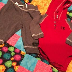 CK outfit hoodie pants boys 3-6 mo
